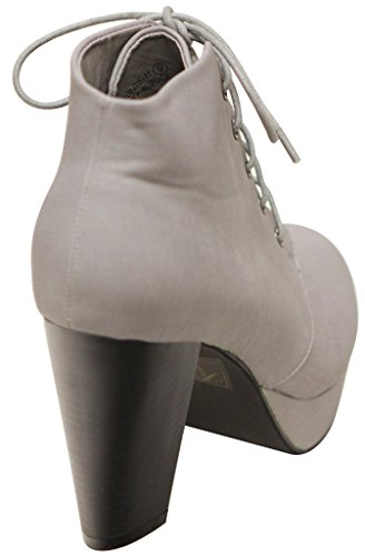 Bella Marie Goldie-11 Womens almond toe platform lace up chunky heel ankle high PU booties Grey dmAhAt