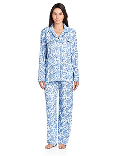 Lounger Flannel - Casual Nights Women's Long Sleeve Floral Pajama Set - Blue - Small