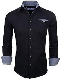 Mens Classic Slim Fit Contrast Inner Long Sleeve Dress Shirts