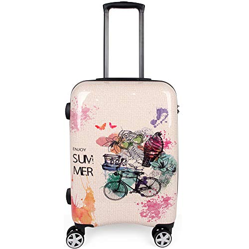 NEWCOM Carry On Luggage Lightweight Hard Shell 20 Inch with Spinner Wheels TSA Lock Vintage Lattice Print Watercolour Retro Upright Rolling Suitcase ABS+PC (Geek Luggage)