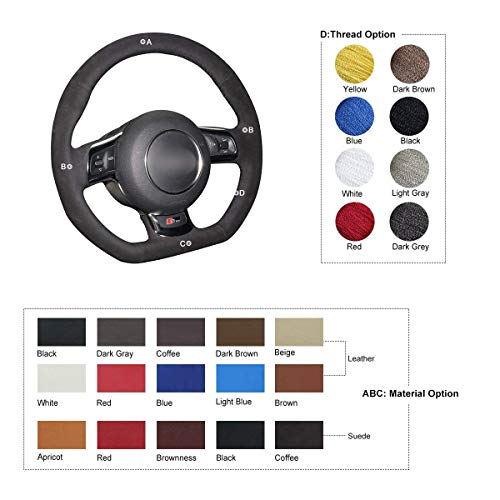 OUYUE Black Suede DIY Car Hand Stitch Steering Wheel Cover for Audi TT 2008-2013 ()