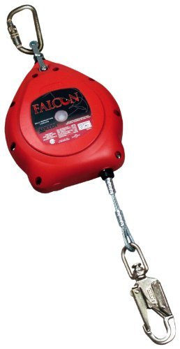 Miller Falcon Self Retracting Lifeline (Miller MP20G/20FT Falcon 20-Foot Galvanized Rope Self-Retracting Lifeline with Tagline and Carabiner, Red by Miller)
