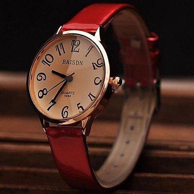 La moda de la mujer contrajo la piel brillante grandes relojes números (colores surtidos)