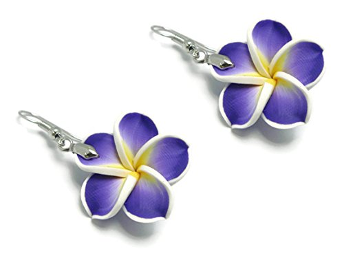CHADADA Hawaiian Fimo Plumeria Flower Dangle Earrings Handmade, 25 mm (Purple), EH30 (Hawaiian Fimo Flower)
