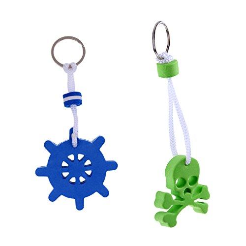 Floater Keychain - Baoblaze 2 Pcs Floating Foam Keychains Key Floats Buoy Boating Keyrings Floater Blue & Green