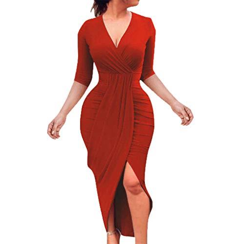 Kimloog Wrap Dress, Women V Neck 3/4 Sleeve Ruched Bodycon Long Maxi Dresses Split Front Sheath Sundress (XL, Red)