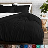 Bare Home Duvet Cover and Sham Set - Full/Queen - Premium 1800 Ultra-Soft Brushed Microfiber - Hypoallergenic, Easy Care, Wrinkle Resistant (Full/Queen, Black)