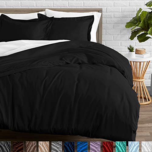 Bare Home Duvet Cover and Sham Set - Queen Size - Premium 1800 Ultra-Soft Brushed Microfiber - Hypoallergenic, Easy Care, Wrinkle Resistant (Queen, Black)