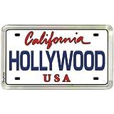 "Hollywood California License Plate Small Fridge Acrylic Collector's Souvenir Magnet 2"" X 1.25"""