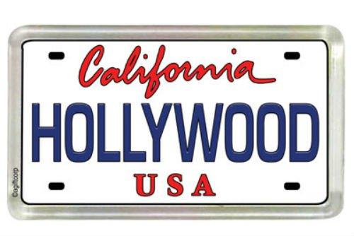 (Hollywood California License Plate Small Fridge Acrylic Collector's Souvenir Magnet 2