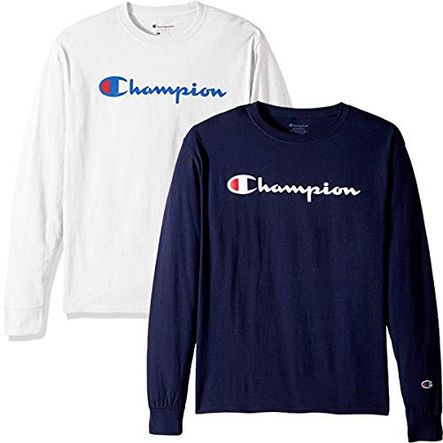 Champion Men's Classic Jersey Script T Shirt -3 Piece Bundle Includes 2 Shirts Free BE Bold Gym Tote Bag Genie Outlet ()