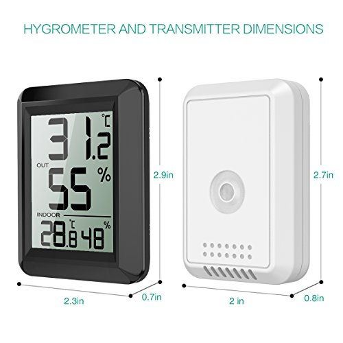 ORIA Digital Hygrometer Thermometer, Thermometer Humidity Monitor, Temperature Humidity Gauge Meter, ℃/℉ Switch, LCD Screen, Indoor & Outdoor Monitor for Warehouse, Home, Office, Greenhouse (Black) by ORIA (Image #4)