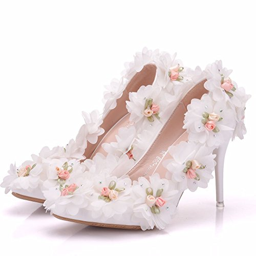 LEIT Women's Shoes White fine with high-Heeled Pointed Banquet Wedding Lace Flowers White NpCh4mrY
