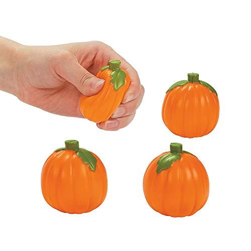 Fun Express - Mini Pumpkin Relaxable for Halloween - Toys - Balls - Relaxables - Halloween - 24 Pieces -