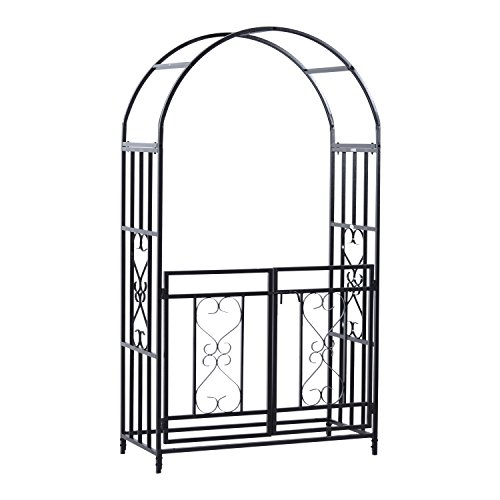 Outsunny Decorative Metal Backyard Garden Arch (Gated) by Outsunny