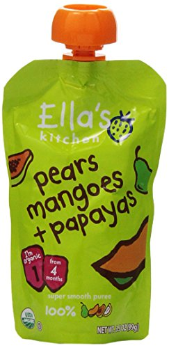 Ella's Kitchen Organic 4+ Months Baby Food, Pears, Mangoes and Papayas Fruit Puree, 3.5 oz. Pouch (Puree Pear)