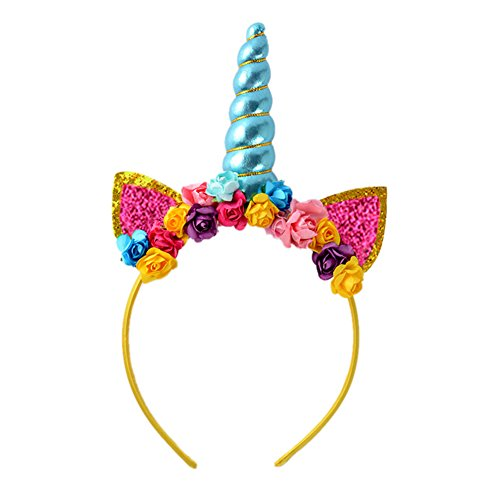 Unicorn Horn Headband Ears colorful Flowers Unicorn Headwear Cosplay Costume Shiny Blue (Glee Face Color)