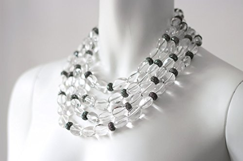 Dripping In Gems Jenna Clear Cabochon Quartz 4-Strand Necklace, Collar Length