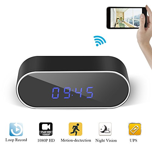 Gogloo HD 1080P WiFi Hidden Clock Camera With Phone/PC Remote Live Video Night Vision Motion Detection Great Home Surveillance IP Camera Alarm Camera Security Camera Secret Camera Spy Camera Nanny Cam