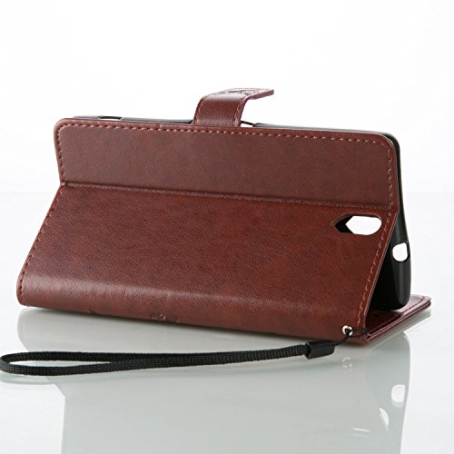 Funda Sony Xperia C5 ULTRA OuDu Carcasa de Billetera Funda PU Cuero Carcasa Suave Protectora con Correas de Teléfono Funda Arbol Flip Wallet Case Cover Bumper Carcasa Flexible Ligero Ultra Delgado Caj Marrón