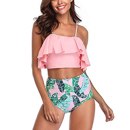 - Aribelly Women's One Piece Swimsuits One Shoulder Swimwear Asymmetric Ruffle Monokinis Bathing Suits Women's Sexy Detachable Padded Cutout Push Up Striped Bikini Set Two Piece Swimsuit Pink