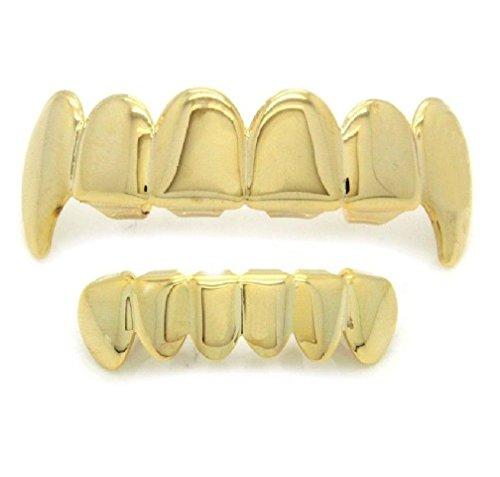 TDmall Gold Tone Hip Hop Teeth Grillz Top Fangs & Bottom Grill (Fang Set Cross)