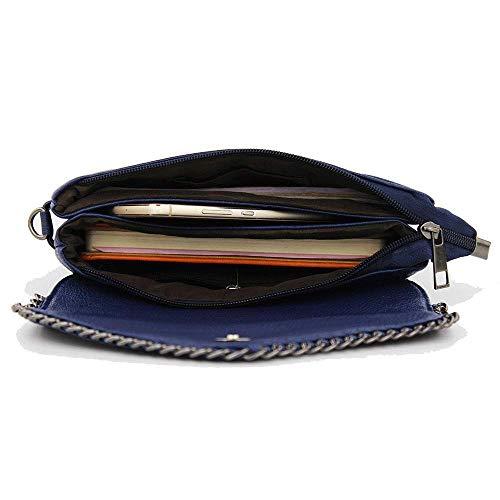 Petit Sac Vnlig Chaîne Du En Carré Bandoulière Nouvelle Coréenne Mode Noir Extérieur Version Bleu Commerce couleur fr801f