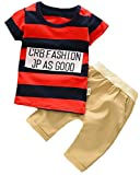YUNY Toddler Boy Cute 2 Piece Round Neck Stripe Tees and Elastic Short Set 70cm red