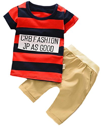 YUNY Toddler Boy Cute 2 Piece Round Neck Stripe Tees and Elastic Short Set 70cm red by YUNY