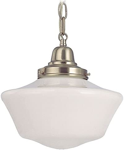Retro Style 10 Inch Mini Hanging Schoolhouse Pendant Light with Powerhurst Milk Glass Shade and Satin Nickel Finished Chain