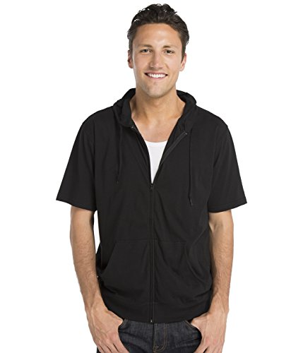 Cottonhood Short Sleeve Zip Hoodie Tee XXX-Large Black by Cottonhood