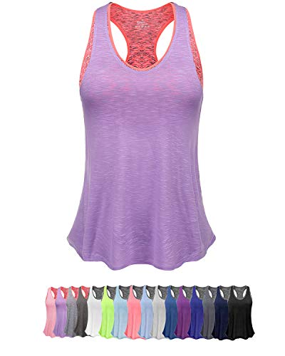 (Women Tank Top with Built in Bra, Lightweight Yoga Camisole for Workout Gym Fitness (XL, Light Purple&Pink Bra))