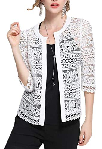 M&S&W Women Boleros Lace Crochet Blero Open Front Hollow Stylish Sheer Cardigan White L