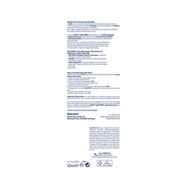 NIVEA Q10 Power Anti-Rides Soin de Jour + Extra-Nourrissant (1x50ml), Soin visage FPS 15 enrichi en Huile d'Argan BIO…