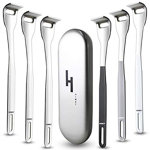 Tounge Scraper Cleaner,Tongue Scraper for Bad Breath Treatment,UPGRADED Professional Stainless Steel Tounge Scrapers for Adults,HIMET 4 Color Easy to be Distinguish for Family Oral Care.