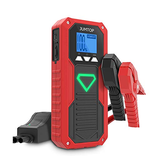 JUMTOP E18 2000A Peak Portable Car Jump Starter (8.0L Gas/6.5L Diesel Engine) Auto Battery Booster & Power Bank and Phone Charger with Dual USB Smart Charging Port and LED Flashlight (Best Battery For 6.5 Diesel)