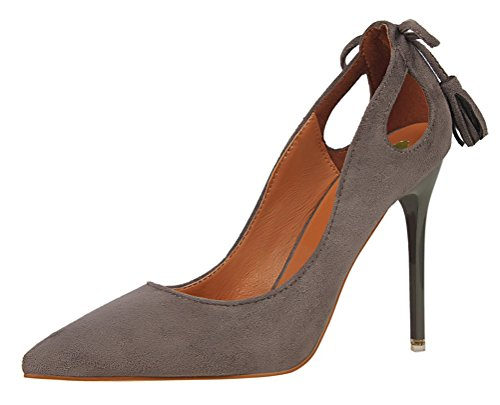 T&Mates Womens Fashion Pointed Toe Slip-ons Hollow Out Stiletto Heel Bow Tassels Suede Pumps Shoes (5.5 B(M) US,Gray)