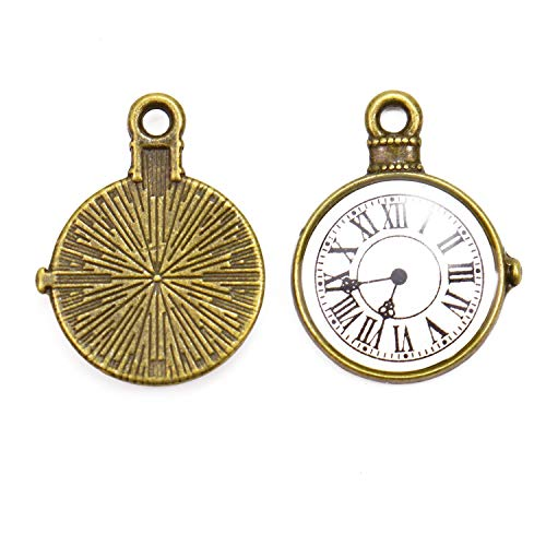 Monrocco 20 Pack Resin Alloy Pocket Watch Clock Charms Pendants Dial Face Charm for Bracelets Jewelry Making