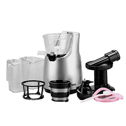 Slow Juicer Rpm : O-Breko Slow Masticating Juicer with 200W 65 RPM DC Motor and Reverse Function, Spraying Silver ...