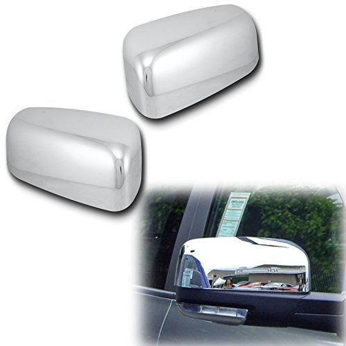 AutoModZone Chrome ABS Side View Mirror Upper Top Half Mirror Cover 2-pc Set for 09-17 Dodge Ram 1500 with Turn Signal Cutout (Chip Ram Set Via)
