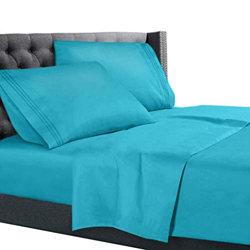 King Size Bed Sheets Set Beach Blue, Bedding Sheets Set on Amazon, 4-Piece Bed Set, Deep Pockets Fitted Sheet, 100% Luxury Soft Microfiber, Hypoallergenic, Cool & Breathable