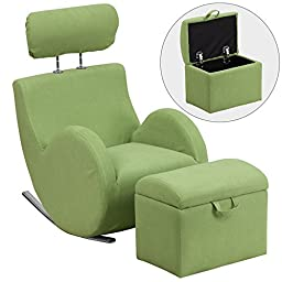 Heracles Green Fabric Rocking Chair with Storage Ottoman