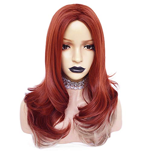 Anogol Hair Cap+Copper Red wigs Synthetic Hair Long Wavy Wigs with Ombre Pink Wig for Women ()