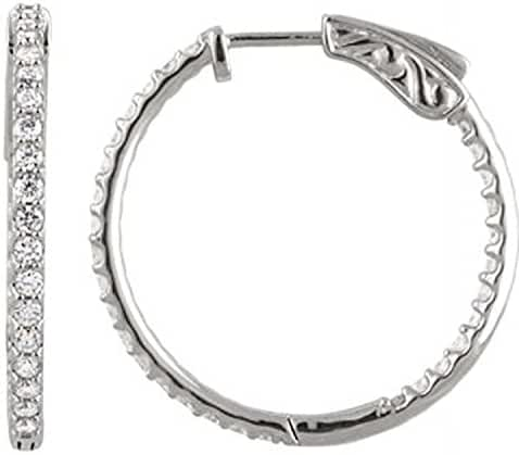 Platinum 1 CTW Diamond Inside/Outside Hoop Earrings