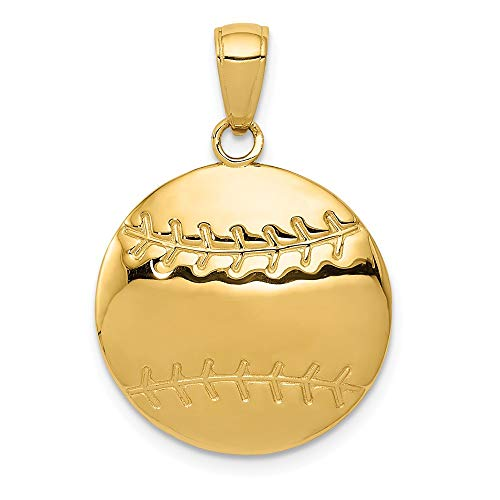14k Diamond Cut Baseball - Solid 14k Yellow Gold Diamond-Cut Baseball Pendant Charm (18mm x 21mm)