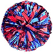 Cheerleading Pom Poms Metallic Foil Cheerleader Pom Poms Sports Dance Cheer Plastic Pom Poms with Baton Handle
