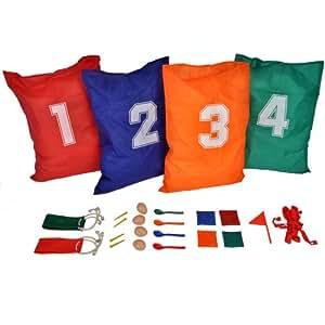 Happy People 15546 - Set para fiesta infantil (incluye 4 sacos para carreras, 4 cucharas y 4 huevos, 4 almohadas, 2 tiras de velcro, 2 bandas de salida / meta y 4 clavijas) [importado de Alemania]