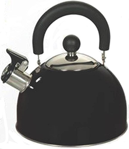 Euro-Ware 309-BK Stainless Steel Whistling Tea/Hot Water Kettle with Cool and Folding Handle, 2.5 quart, Black