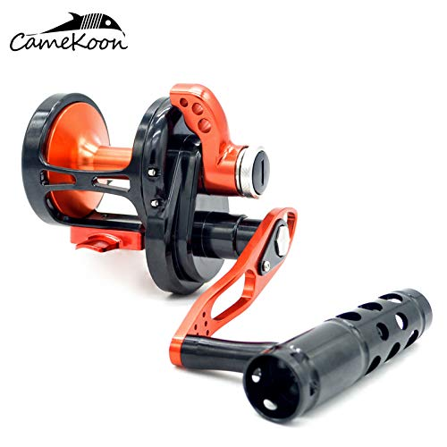 CAMEKOON TC Series All Aluminum Lever Drag Saltwater Fishing Reels, 6.1:1 Gear Ratio, Precision Machining of Metal Parts, Conventional Trolling Reel (TC300, Left Handed Reel) ()