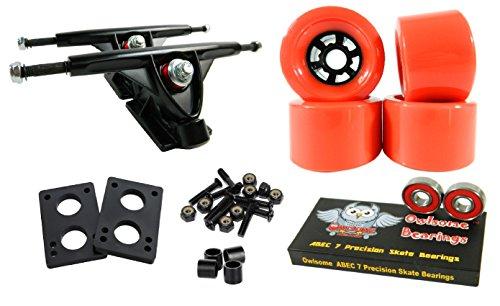 Longboard 180mm Trucks Combo w/83mm Flywheels + Owlsome ABEC 7 Bearings (Red)